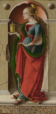 Carlo Crivelli: 'Saint Mary Magdalene'; probably about 1491-4; Medium and supportTempera on lime; Mary Magdalene wears her traditional red dress and holds a jar of oil (with which she anointed Christ). | The National Gallery London