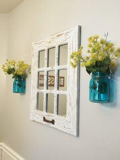 Rustic window pane mirror and mason jars