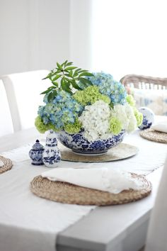 hydrangeas in blue and white bowl!!