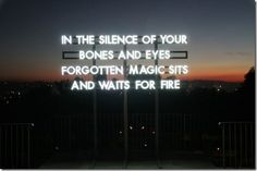 'in the silence of your bones and eyes, forgotten magic sits and waits for fire' by artist Robert Montgomery