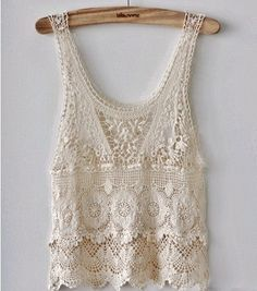 ∆: Daygones Boutique :∆    White Crochet Lace Flower Pattern Tunic Blouse     Size: Small-Medium