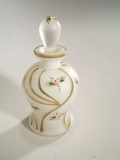 Vintage Perfume Bottle Frosted Glass Hand Painted West Germany Floral Dauber
