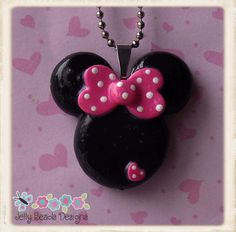 *POLYMER CLAY ~ Classic Minnie Mouse Polymer Clay Pendant Necklace via Etsy