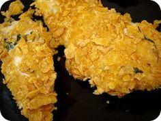 COMIDINHAS FÁCEIS: Tiras de frango com crosta assado no forno