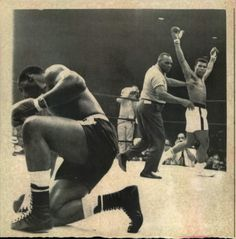 This group of 10 vintage photographs display the great Muhammad Ali (then known by his birth name Cassius Clay) laying a beating down on Sonny Liston. Description from sports.mearsonlineauctions.com. I searched for this on bing.com/images
