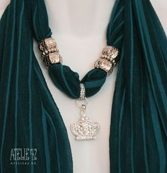 Necklace with a silk scarf
