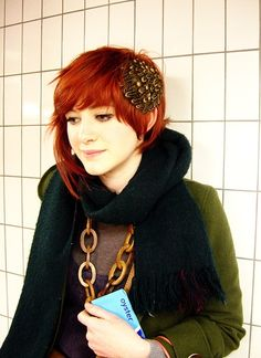 beautiful girl red hair dyed pale edgy style cute romantic short bob fairy