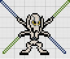 General Grievous Perler Bead Pattern Melty Bead Patterns, Pearler Bead Patterns, Perler Patterns, Beading Patterns, Hama Beads Animals, Beaded Animals, Star Wars Crochet, Pixel Crochet, Star Wars Battle Droids