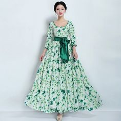 SALE Floral Print A-line Dress Wedding Bridesmaid Bohemian Green White Thick Chiffon Full Pleated Skirt Maxi Ball Gown Prom Party Holiday Fall Dresses, Bridal Dresses, Dress Wedding, Bridesmaid Dress, Ball Gowns Prom, Indian Dresses, Dress Skirt, Pleated Skirt, Beautiful Dresses