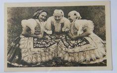 Three women in Czech traditional folk costumes. Kyjov, Moravia. 1948 postcard.  http://www.veselovsky.eu/wp-content/gallery/antq/czech_republic_antq_kroj_48-08-19.jpg