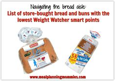 A list of store-bought bread and buns with the lowest Weight Watcher smart points (scheduled via http://www.tailwindapp.com?utm_source=pinterest&utm_medium=twpin&utm_content=post160098411&utm_campaign=scheduler_attribution)