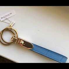 """Coach Exotic Blue Leather Double Loop Valet NWT Coach Exotic Blue Leather Double Loop Valet Keychain NWT~Size 5 1/2"""" Length~Gold Hardware Coach Accessories Key & Card Holders"""