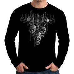 Velocitee Mens Long Sleeve T Shirt Hanging Skulls Horror Death Evil Goth A15006 #Velocitee