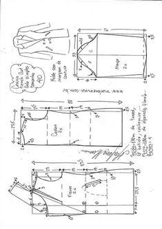 Sobretudo com capuz simples – DIY – molde, corte e costura – Marlene Mukai Coat Pattern Sewing, Blazer Pattern, Pattern Drafting, Jacket Pattern, Girl Dress Patterns, Coat Patterns, Clothing Patterns, Skirt Patterns, Blouse Patterns