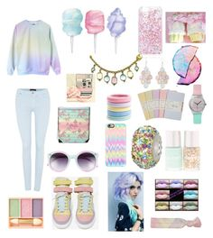 Cotton Candy by swiftie11taytayswizzle on Polyvore featuring polyvore, fashion, style, 7 For All Mankind, Chiara Ferragni, Individuality Beads, Chanel, Arizona, Forever New, Casetify, Tildon, L. Erickson, Paul & Joe, Cotton Candy, Moleskine, Polaroid and clothing
