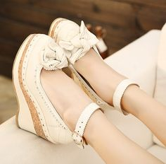 [Special] every day new mortgage contains vivi sweet leather bow Satomi feet thick crust waterproof wedge heel - Taobao