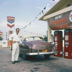 Vintage Chevron gas station