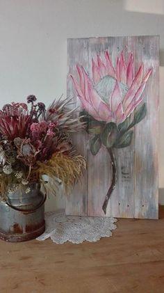 Protea Art, Protea Flower, Pallet Painting, Pallet Art, Blue Flower Wallpaper, Apple Pro, Flower Artists, King Art, Mosaic Projects