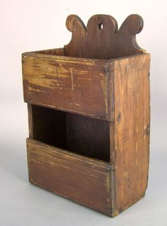 Wall Box, would be really cute in bright color. Old Wooden Boxes, Wooden Bowls, Primitive Furniture, Primitive Antiques, Antique Paint, Antique Decor, Wall Cupboards, Cabinets, Candle Box
