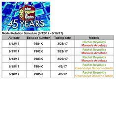 @therealpriceisright Model Rotation Schedule (6/12/17 - 6/16/17) 📄 1. Rachel Reynolds (@rachel1reynolds) Air dates: 6/12/17 - 6/16/17 2. Manuela Arbelaez (@manuelaarbelaez) Air dates: 6/12/17 - 6/14/17 3. Gwendolyn Osborne-Smith (@mrsgwenniesmith) Air dates: 6/15/17 - 6/16/17 #thepriceisright #priceisright #tpir #cbs #season45 #45years