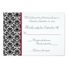Damask RSVP Wedding Invitations Black, White, Red Damask RSVP Card