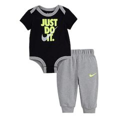 """Baby Boy Nike """"Just Do It"""" Bodysuit & Jogger Pants Set This boys' Nike bodysuit and jogger pants set keeps him looking so cute and sporty. Baby Boy Clothes Nike, Baby Boy Nike, Cute Baby Boy Outfits, Carters Baby Boys, Boys Nike, Cute Baby Clothes, Infant Boys, Babies Clothes, Jogger Pants"""