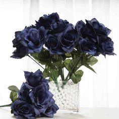 84 Artificial Silk Open Roses Wedding Flower Bouquet Centerpiece Decor - Navy