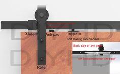 $ Number pies/6.6ft cierre Suave corredera granero hardware de la puerta de granero de madera de estilo rústico negro kit de vía con mecanismo de cierre suave