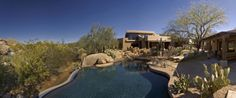 Enjoy the privacy and security of The Villa Retreat - a spacious Bali influenced five-bedroom home, luxurious Arizona desert retreat complete with infinite edge pool, two full-kitchens and stunning views. #Travel to this Scottsdale Luxury Rentals - #Scottsdale Retreats- The Boulders, A Waldorf Astoria Resort