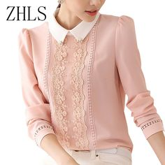 Women Blouses plus size Top Blusa Feminino Lace Patchwork Diamonds Peter Pan Collar long sleeve Shirt  2016 Female Casual Tops
