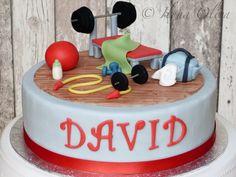 Gym Cake, Fitness Cake Fondant Cakes, Fondant Figures, Cupcake Cakes, Building Cake, Fitness Cake, Gym Cake, Gymnastics Cakes, Zoes Fancy Cakes, Sports Themed Cakes