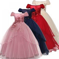 Varejo Flor Do Laço Vestido Da Menina Das Crianças Das Crianças Bonitas Da Festa De Casamento Vestido Da Menina De Festa Formal Pageant Vestido De