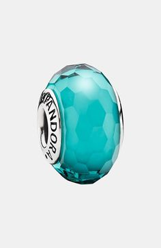 PANDORA 'Fascinating' Murano Glass Bead Charm available at #Nordstrom- I got the teal to represent both the glass factory we toured in Murano, Italy and the color of the mineral water throughout Europe on my Europe trip bracelet and to represent the color of the water in the Caribbean on my Beach bracelet.