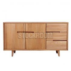 Johnson Solid Oak Wood Sideboard