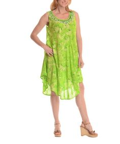 This Green Floral Handkerchief Dress by Shoreline is perfect! #zulilyfinds