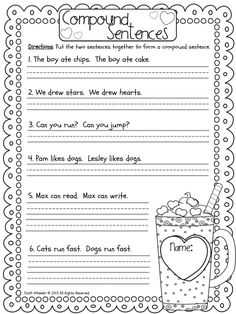 FREE compound sentences worksheet - Grade Fantabulous: Merry Go Rounds and Freebies 2nd Grade Worksheets, Writing Worksheets, Writing Lessons, Writing Activities, Fun Activities, Printable Worksheets, Homeschool Worksheets, Grammar Activities, Therapy Activities