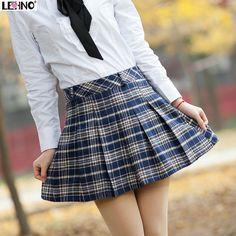 Fashion plaid school uniform short skirt bust skirt girls pleated skirt preppy style sweet a-line skirt