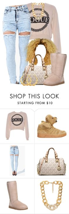 """Untitled #1395"" by lulu-foreva ❤ liked on Polyvore featuring adidas, MICHAEL Michael Kors, UGG Australia and Forever 21"