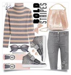 """""""Bold Stripes"""" by wuteringheights ❤ liked on Polyvore featuring Accessorize, Eddie Borgo, York Wallcoverings, Current/Elliott, 81 Hours, MM6 Maison Margiela, Ray-Ban and Laura Mercier"""