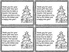 Holiday Thank You Notes Freebie! (From Teacher To Student)