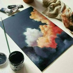 Easy Canvas Art, Cute Canvas Paintings, Small Canvas Art, Oil Painting Abstract, Watercolor Art, Painting Art, Sky Art, Hippie Art, Amazing Art