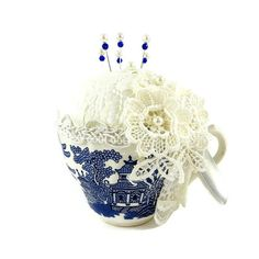 16 Blue Willow Pincushion Vintage Cup Pin by GaffneyGirlStudio