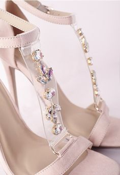 Jewelled Perspex T Bar Heeled Sandal Blush - Shoes - High Heels - Missguided | Ireland