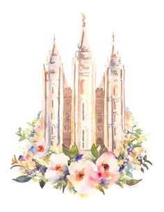 Salt Lake City Temple Watercolor Floral | Payson Temple Photography