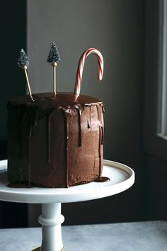 Vegan Chocolate Peppermint Cake   A delicious chocolate peppermint cake iced in a dairy free chocolate ganache, aka the perfect holiday dessert!   thealmondeater.com