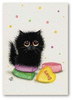 """""""Valentine Sweetheart"""" black kitten; AmyLyn Bihrle"""
