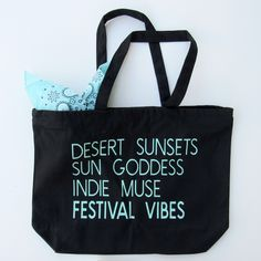 Festival Vibes Carryall Canvas Tote in Midnight