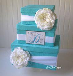 Wedding Card Box Money Box Custom Card Box - Tiffany Blue Wedding - 100% Dupioni Silk. $113.00, via Etsy.