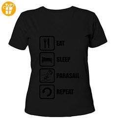 Eat Sleep Parasail Repeat Black Graphic Women's V-Neck T-Shirt X-Large (*Partner-Link)