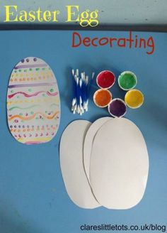 April Theme-Easter egg decorating, easy and simple idea for babies and toddlers to decorate Easter eggs and work those little fine motor skills. Easter Arts And Crafts, Easter Activities For Kids, Holiday Activities, Craft Activities, Preschool Crafts, Holiday Crafts, Holiday Fun, Easter Ideas For Kids, Easter Games